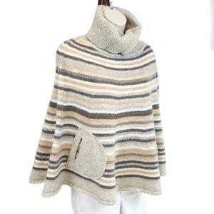 GAP lambswool striped turtleneck poncho sweater